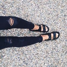 black jeans and birkenstocks