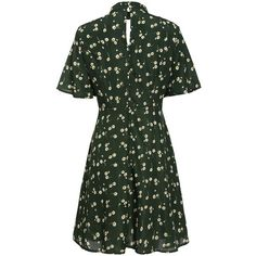 Meaneor Women Fashion Stand Collar Key Hole Short Flare Sleeve Floral... (525 SEK) ❤ liked on Polyvore featuring dresses