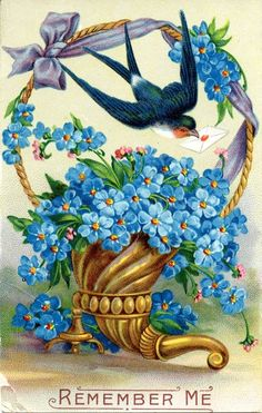 Victorian Postcard ~ Victorian Blue Flowers in Basket with Blue Bird ~ 'Remember Me'.