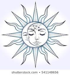 Bohemian hand drawn sun and moon. Vector illustration for coloring book, t-shirt… Bohemian hand drawn sun and moon. Vector illustration for coloring book, t-shirts design, tattoo. Moon Sun Tattoo, Sun Tattoos, Bild Tattoos, Sun Moon, Sun And Moon Drawings, Sun Drawing, Tattoo Sonne, Paar Tattoo, Tattoo Sol E Lua