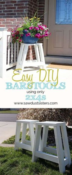 Barstools built out of 2x4s. Step by Step Tutorial. Can also use as a side table!