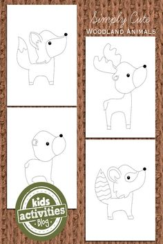These adorable woodland animal coloring pages for kids have simple lines and will work for paint and decorating with glue if using crayons is to tame!