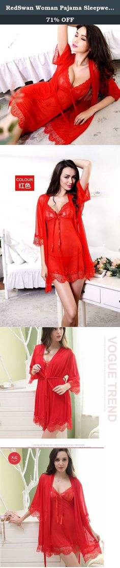 "RedSwan Woman Pajama Sleepwear Chemise Nightgown Sexy Lace Lounge Dress Sexy Lingerie (Red,M). SoftFox devotes to offer ""good quality clothing, good customer service""to our customers. ★Product Specification: *Lace Materail *Recommend Wash Way: Hand-Wash, Machine-Wash, Dry-Clean *Suitable for nightwear, comfortable, lightweight and breathable ★Style:Sexy open cup with G-string nightwear set is comfortable to touch and wear. Your lover can't extricate himself! ★Package Including: 1 X sexy..."