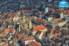 Hermannstadt - Sibiu, Romania, Transylvania, aerial view Sibiu Romania, Photo Projects, Aerial View, Places Ive Been, Places To Visit, Europe, Spaces, Architecture, City