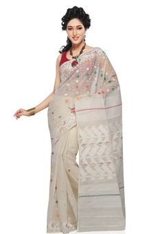 Off white Pure cotton Dhakai Bangladeshi Handloom Saree with Blouse Online Shopping: Dhakai Jamdani Saree, Handloom Saree, Blouse Online, Saree Collection, Indian Sarees, Off White, Online Shopping, Ethnic, Pride
