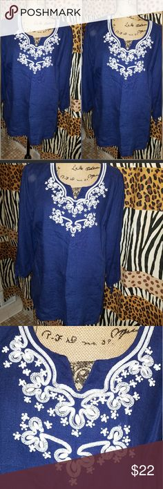 Navy Linen Embroidered Blouse Gorgeous Washable Linen Navy and White Tops Tunics