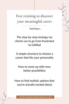 If you're feeling stagnant in your career, this free masterclass is going to help you out because you'll learn how to find the right career for you. A career that is a natural extension of who you are, and one that aligns with your soul. - how to create a life that you love - how to choose a career - how to change careers Finding The Right Career, Find A Career, Choosing A Career, Career Change, Find A Job, Finding Purpose, List Of Jobs, Career Planning, Quitting Your Job