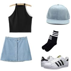 smol by meanhearts on Polyvore featuring moda, Chicnova Fashion and adidas Originals