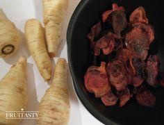 Gemüsechips: Süßkartoffelchips mit Zimt, Rote Beete Chips mit Zitrone, Pastinakenchips mit Petersilie