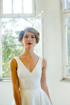 Custom made Chapel Train classic wedding dress by MotilFineDesign