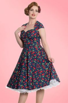 Bunny 50s April Cherry Swing Dress in Midnight Blue