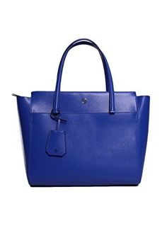 Tory Burch Parker Leather Tote Handbag in Songbird/Royal Navy