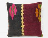 """Turkish cushion 18"""" sofa throw pillow kilim pillow cover decorative pillow case couch outdoor floor bohemian boho ethnic rustic accent 21786"""