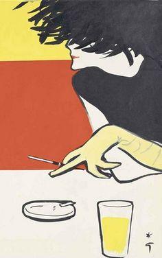 By René Gruau, Woman sitting at a table smoking.