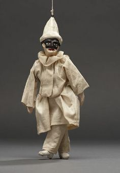 Marionette of figure in white with black mask - Italy