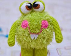 Pdf file in English language. Monster is very easy to crochet! For toys, I used acrylic yarn green and Samba Yarn Art green , hook Amigurumi Patterns, Amigurumi Doll, Crochet Patterns, Crochet Monsters, Crochet Animals, Crochet Dolls, Crochet Hats, Stuffed Toys Patterns, Etsy