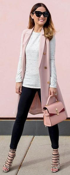 #winter #fashion / Pink Sleeveless Coat / White Knit / Black Skinny Jeans Laced Up Pumps