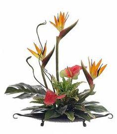 Tropical Silk Flower Arrangement with Bird of Paradise & Anthurium on ...