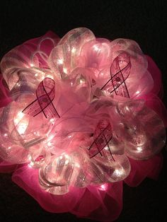 Breast Cancer Awareness Lighted Wreath