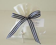 White Linen Navy Stripe Rosary Beads Christening Bomboniere - Le Petit