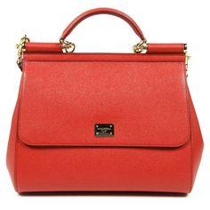 Dolce & Gabbana Miss Sicily Dauphine Leather Flap Bag, Red Dolce And Gabbana Purses, Dolce Gabbana, Red Shoulder Bags, Shoulder Handbags, Leopard Purse, Red Leopard, Studded Handbags, Studded Purse, Sacs Design