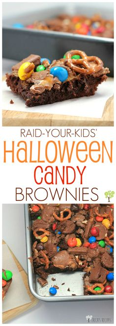 Raid-Your-Kids' Halloween Candy Brownies! Easy, delicious brownies topped with all the candy.