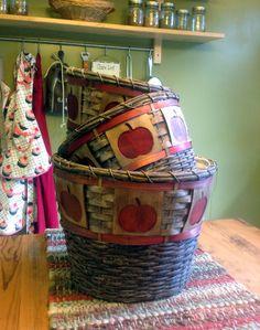 Vintage Apple Baskets  Set of 3 by MyCraftAddictions on Etsy