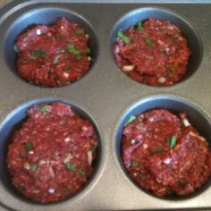 Muffin Bison Meatloaf: 1lb ground bison, 1 egg, 1 shallot (diced), 2-3 cloves garlic (minced), 2-3 tbsp fresh parsley (chopped), salt and pepper to taste. Mix and spoon into jumbo muffin pan. Bake 375 for 15 minutes.