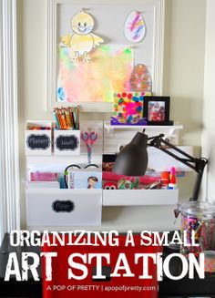 Small art station for kids - organizing ideas