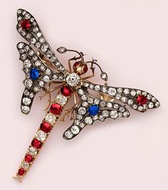 Exquisite ruby, sapphire, diamond, gold and silver dragonfly brooch. Victorian