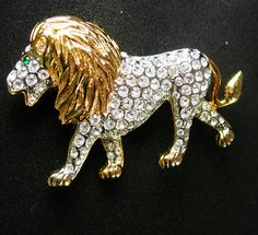 Rhinestone LION brooch Vintage gold Jeweled by NeatstuffAntiques