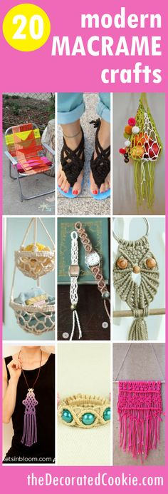 A roundup of 20 modern MACRAME PROJECTS -- retro macrame crafts and DIY. Macrame home decor, jewelry, accessories, and more. Macrame Art, Macrame Projects, Micro Macrame, Diy Craft Projects, Crochet Projects, Macrame Modern, Project Ideas, String Crafts, Yarn Crafts