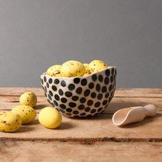 bowl black dots danish vessel unique keramik by EeliArtStudio