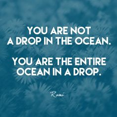 """You are not a drop in the ocean. You are the entire ocean in a drop."" Rumi - Quotes That Remind Us to Be Strong - Photos"