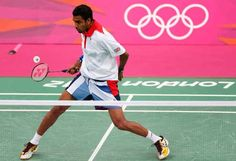 In the hunt for badminton medal: Rajiv Ouseph  Britain's Ouseph in action today; wins first game #olympic #lonon2012