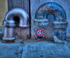Super Mario Space Invaders Street Art