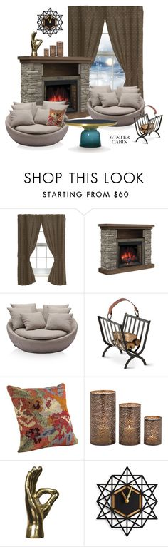 """""""Cozy Cabin Style"""" by victoria-ronson ❤ liked on Polyvore featuring interior, interiors, interior design, home, home decor, interior decorating, Arteriors, ClassiCon, cabinstyle and wintercabin"""