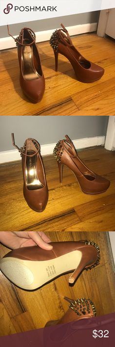 Brown studded heels Never worn!! Perfect condition Bakers Shoes Heels
