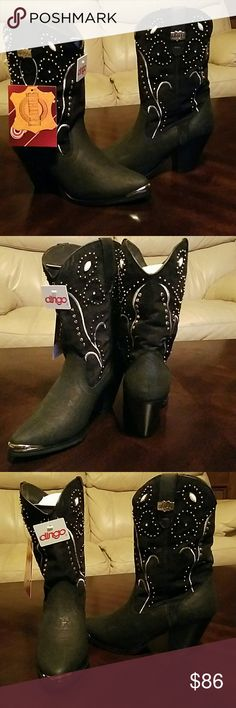 """Dingo Womens Ava.Western Boots 7M Available Western Boots  11"""" Shaft Height  Pigskin Leather Vamp Suede Shaft Comfort Insole  Fashion toe and heel Silver Studed Embellished  New with box Retail 119.00 Boots look like they have a wet spot on them in one of the pics... they do not its just the shine from the lighting..these are New! Dingo Shoes Heeled Boots"""