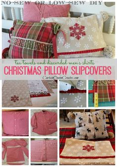 DIY Christmas Pillow Slip-Covers:  No-Sew or Low-Sew - There's no need to store bulky Christmas pillows after the season.  Make quick and easy slip-covers to fi…