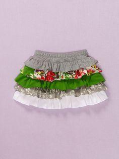 Baby Nay Emerald Rose Ruffle Skirt