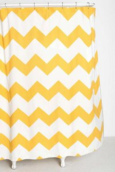 Yellow Blue Grey Chevron Stripes Shower Curtain Striped shower