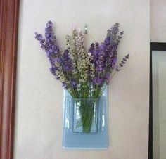 Chalky Blue Fused Glass Wall Pocket Vase by bprdesigns on Etsy, $22.00