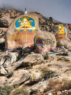 Mammoth boulders painted by monks in Tibet