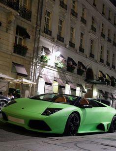 Lime Green Lamborghini Murcielago LP640 Roadster setting the night streets alight! #WildWednesday #spon