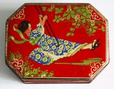 ART-DECO-GIRL-ON-A-SWING-KREEMY-WORKS-TIN-BY-EDWARD-SHARP-AND-SONS-c-1920-1930 Art Deco, Art Nouveau, Vintage Tins, Vintage Antiques, Vintage Packaging, Tin Containers, Tea Tins, Pretty Box, Tin Boxes