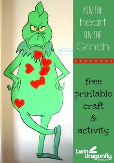 Pin the Heart on the Grinch Who Stole Christmas Party Activity with free Printable. #tgwsc