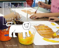 Children draw and paint a lion based on the book, How Loud is a Lion?