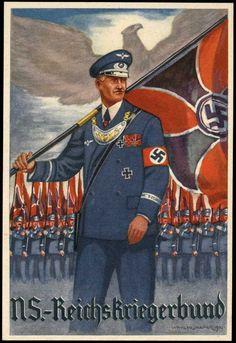 Reichskriegerbund: ca. 1940, seltene Farbkarte nach L. Hesshaimer/Wien, herausgegeben von der Gaukriegerführung Donau des NS-Reichskriegerbundes, sauber ungebraucht, dazu Original-Schutzumschlag.