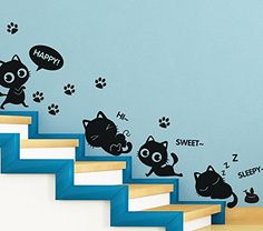 Best Cat Toys : TOTOMO Cute Cats Window And Wall Decals Stickers Wall Décor Art -- To view further for this sponsored item, visit the image link. Cat Wall, Wall Décor, Wall Stickers Murals, Wall Decals, Cat Wine Glasses, Cat Gym, Cat Window, Diy Cat Toys, Cat Scratching